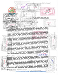 Oficio con sellos de recibido (primera entrega)